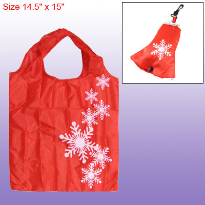 Outdoor Shopping Snowflakes Pattern Foldable Tote Bag White Red
