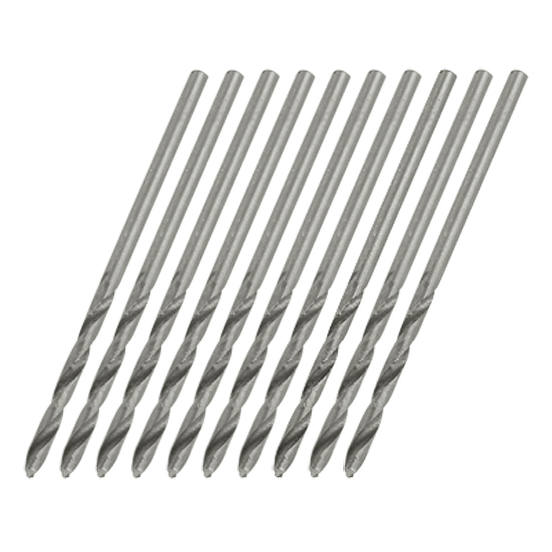 10 x Helix Flute Straight Shank 2.1mm Dia Twist Drill Bits