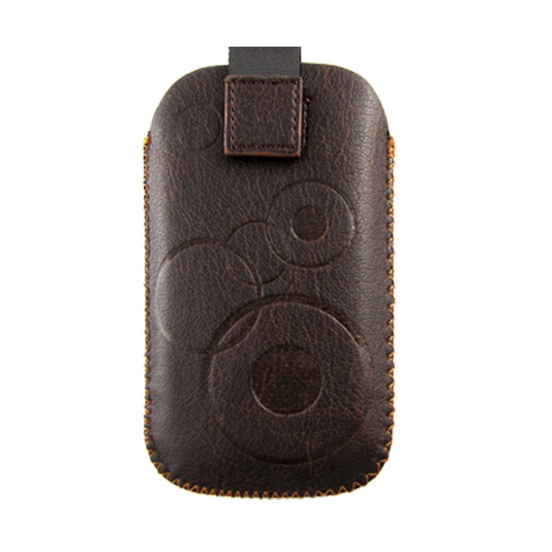 Brown Faux Leather Pull Tab Up Pouch Case for Nokia 5800