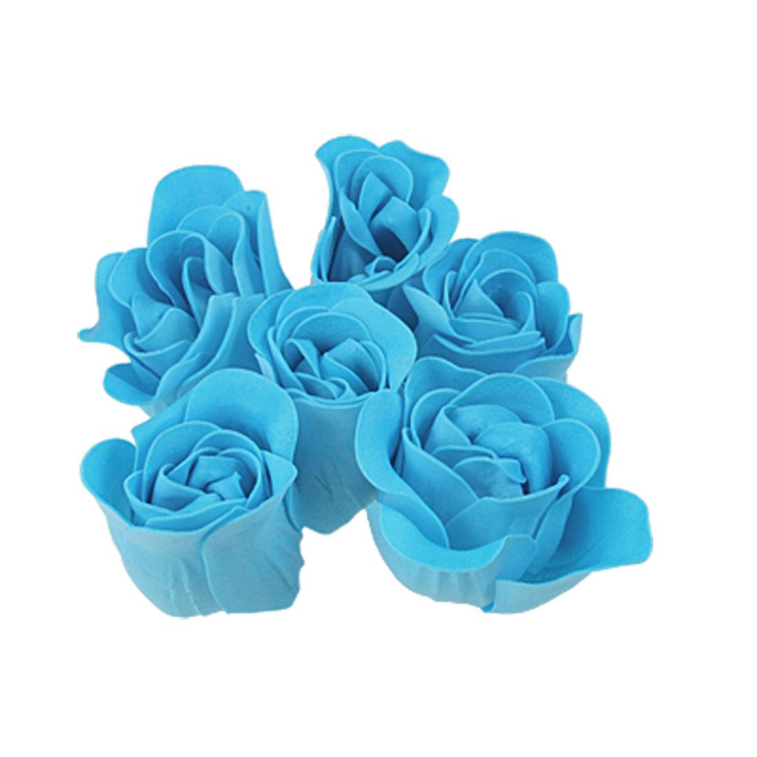 Turquoise Blue Rose Design Bathing Scented Soap Petal 6PCS