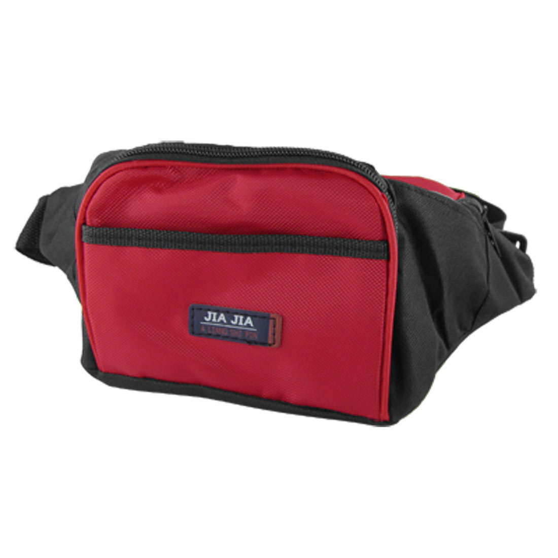 Red Black 4 Pockets Zipped Travel Sports Nylon Waist Carrying Bag