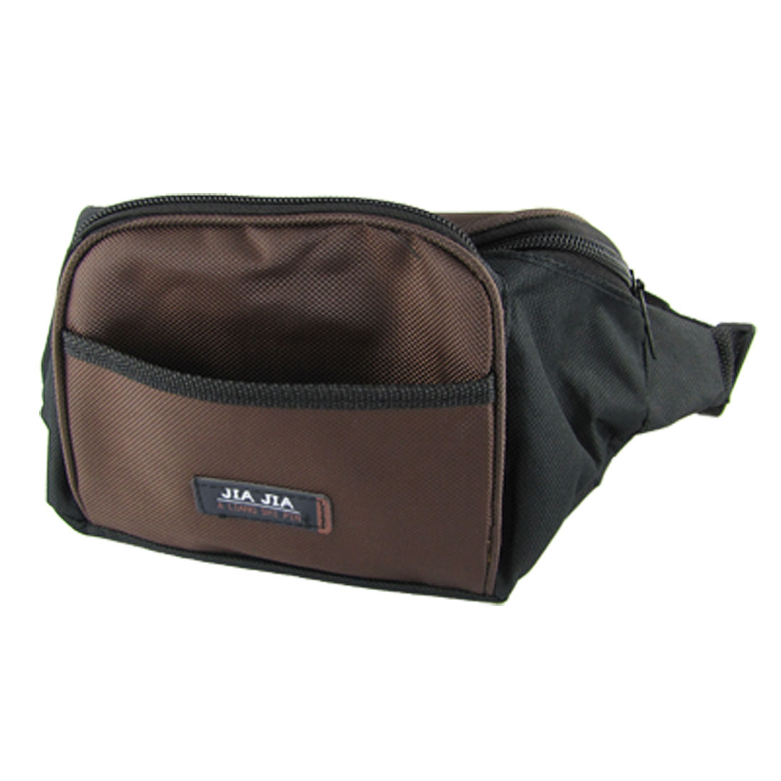 Chocolate Black 4 Pockets Style Nylon Zipper Waist Carrying Bag