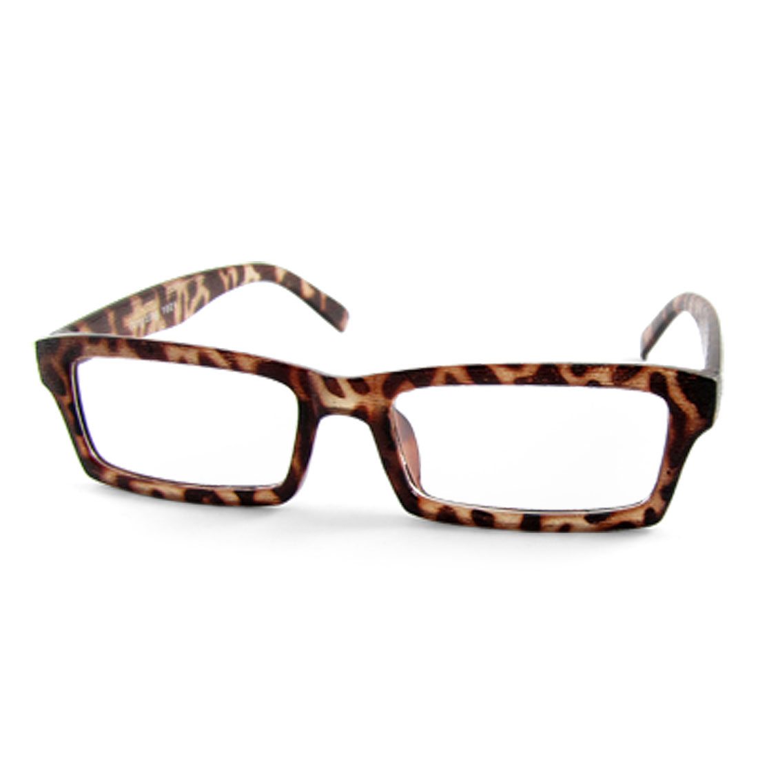 1021 Leopard Pattern Frame Eyewear Rectangle Clear Lens Plain Glasses