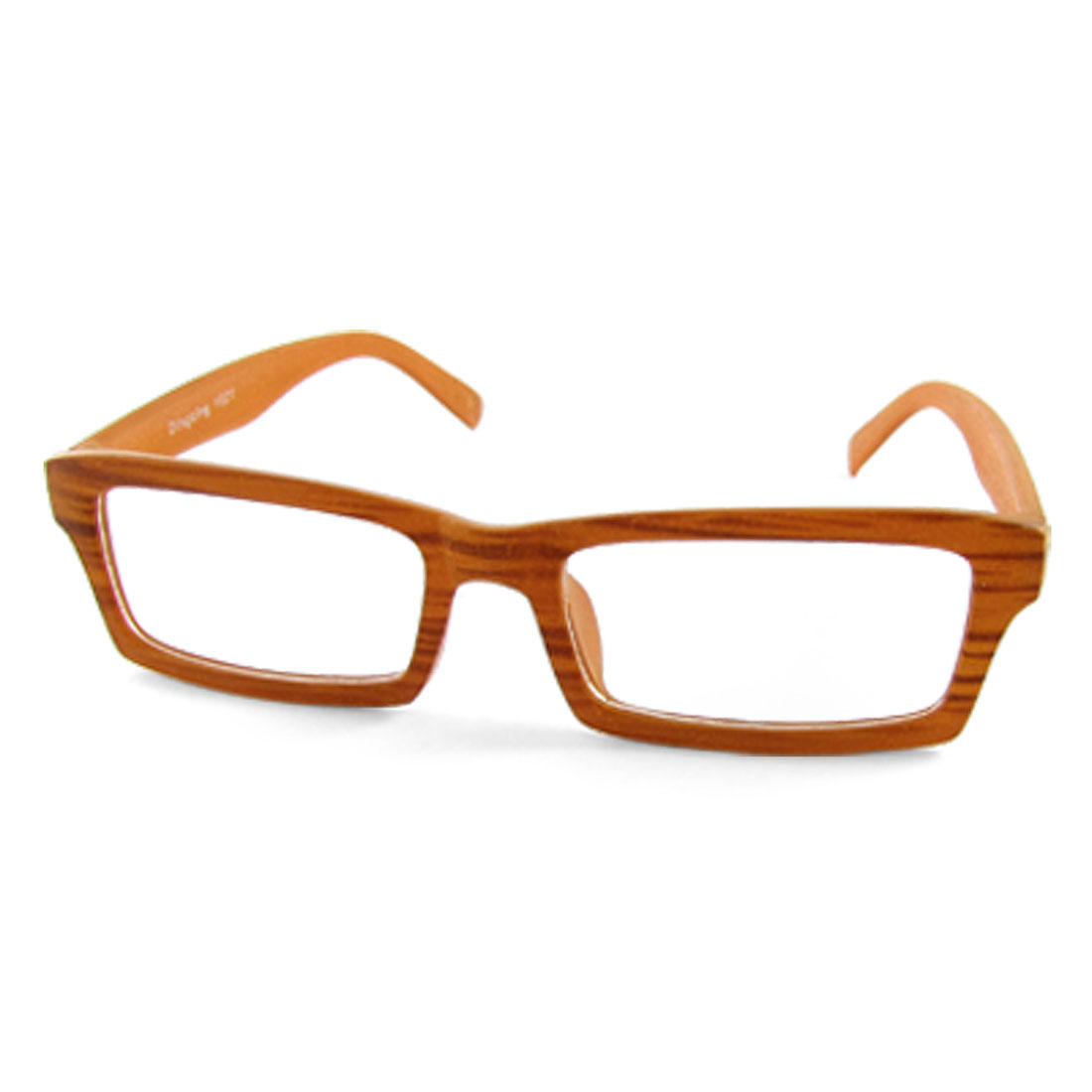 1021 Brown Wood Grain Full Rim Glasses Rectangle Lens Plain Spectacles