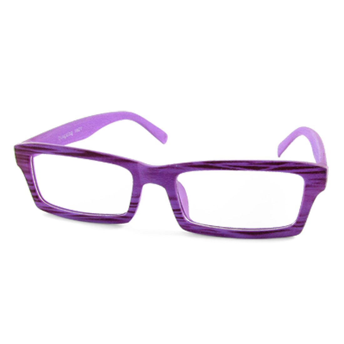 1021 Purple Wood Grain Full Rim Plain Glasses Rectangle Lens Spectacles
