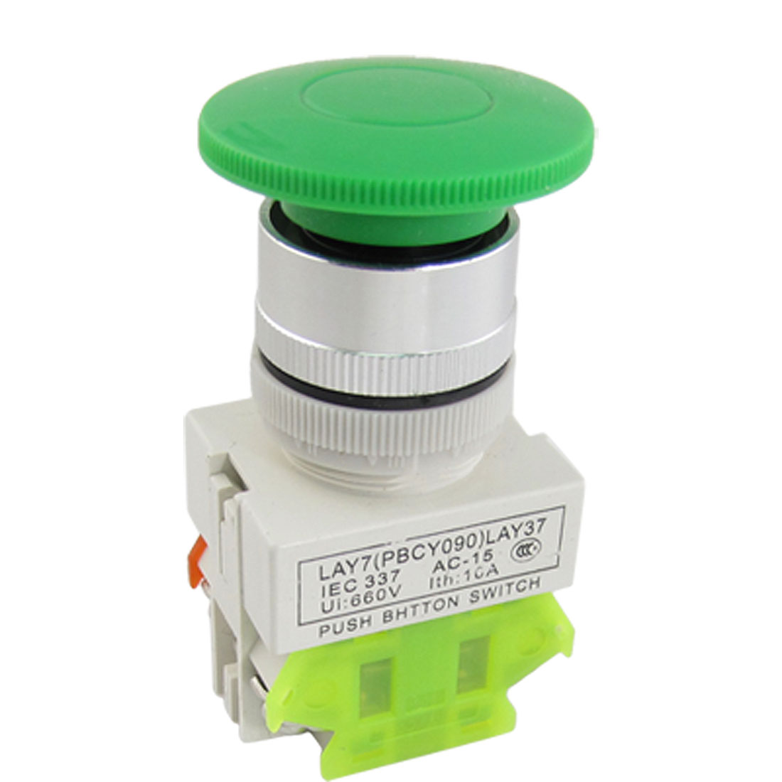 "AC 660V 10A 40mm 1.6"" Green Mushroom Head Momentary Push Button Switch 1 NO NC"