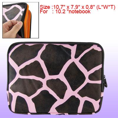 "Brown Pink Giraffe Print Faux Leather 10.2"" Notebook Zipper Sleeve Bag"