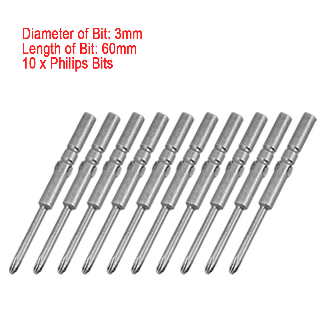 Magnetic 5 x 60 x 3mm Phillips Bits for Electric Screwdriver 10 PCS