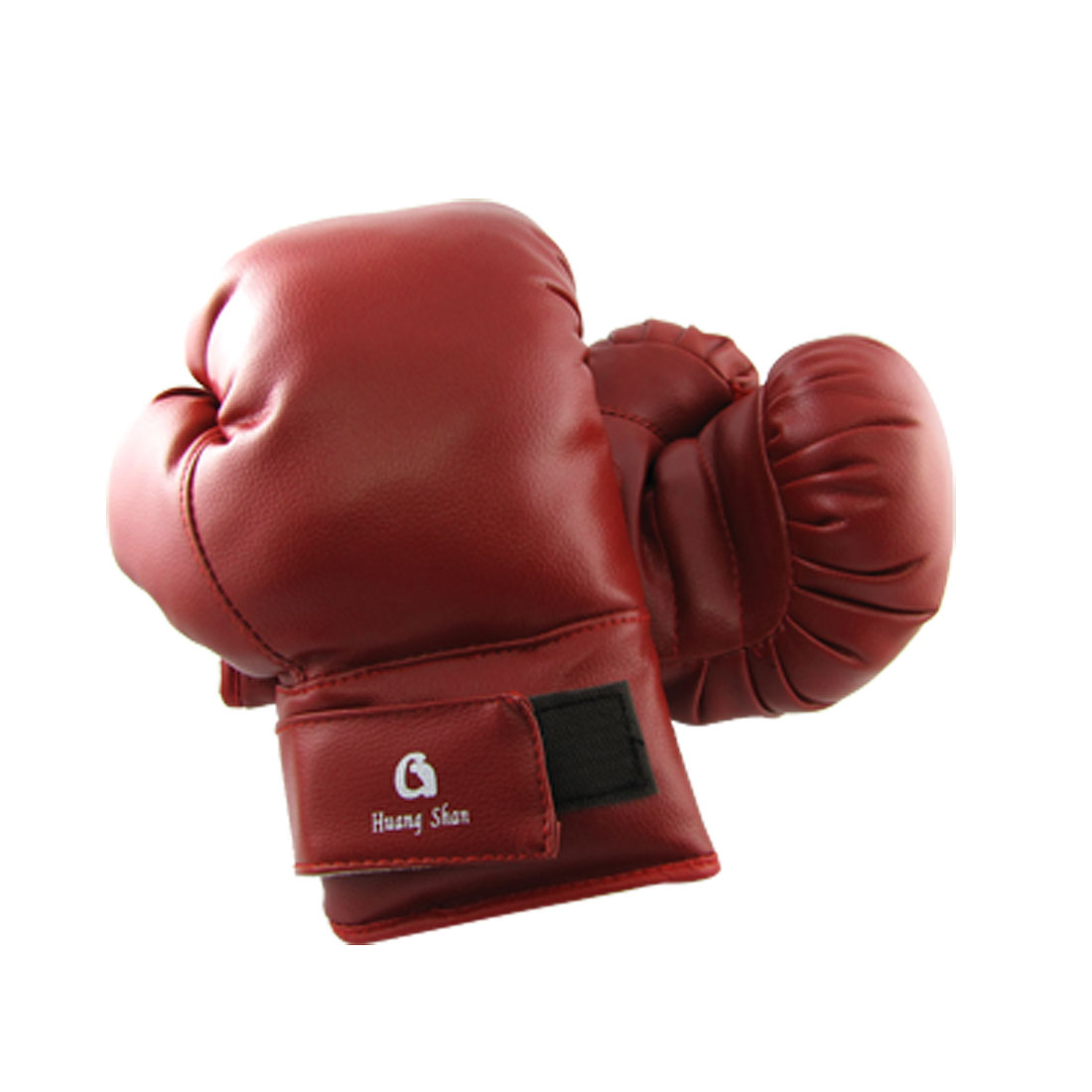 Hook and Loop Fastener Belt Red Faux Leather Sparring Gear Gloves for Boxing