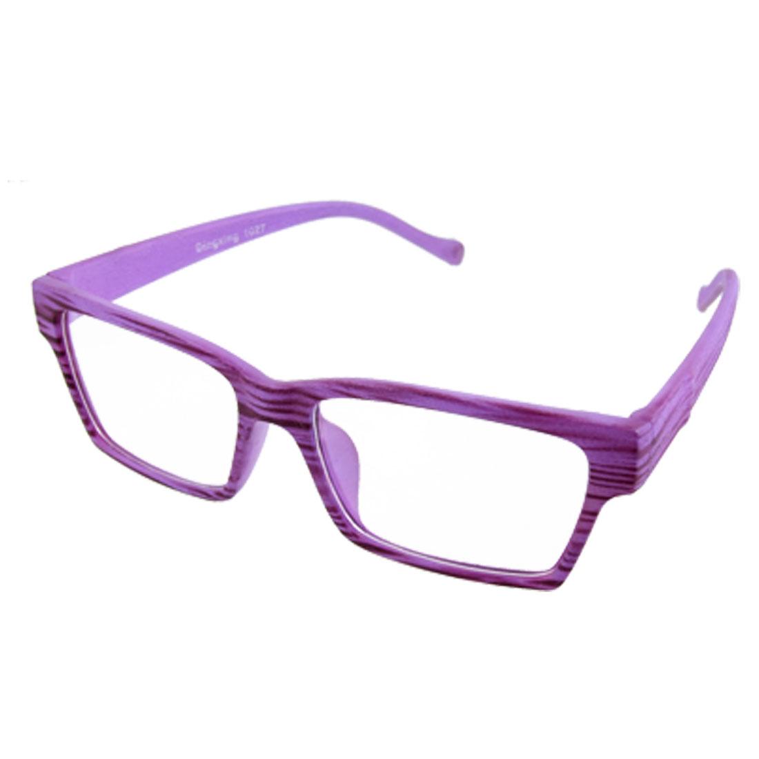 Unisex Purple Wood Grain Full Rim Plain Clear Lens Glasses