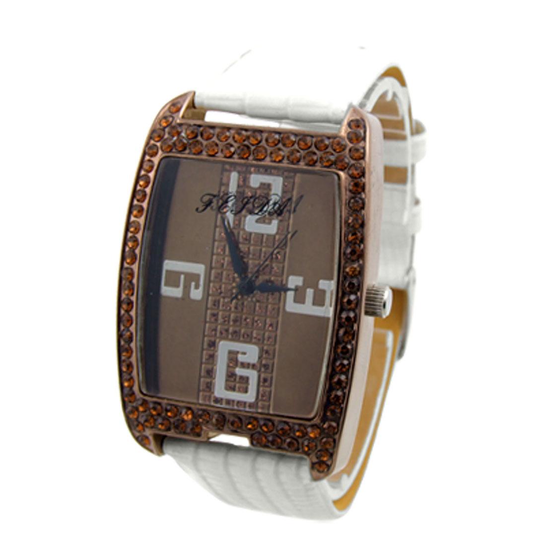 Ladies White Faux Leather Crocodile Pattern Band Rhinestone Wristwatch
