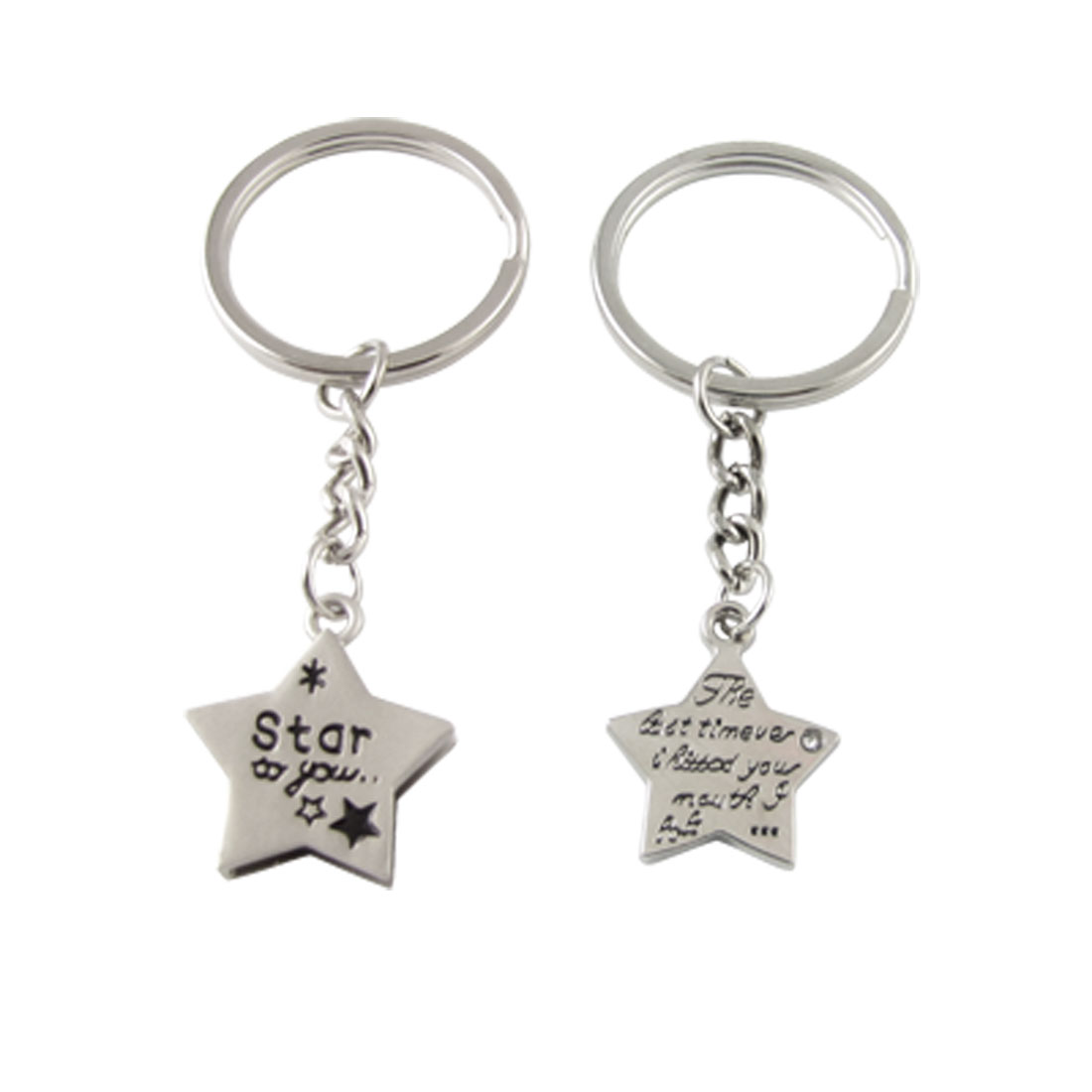 English Words Print Silver Tone Star Pendant Keyrings for Lovers