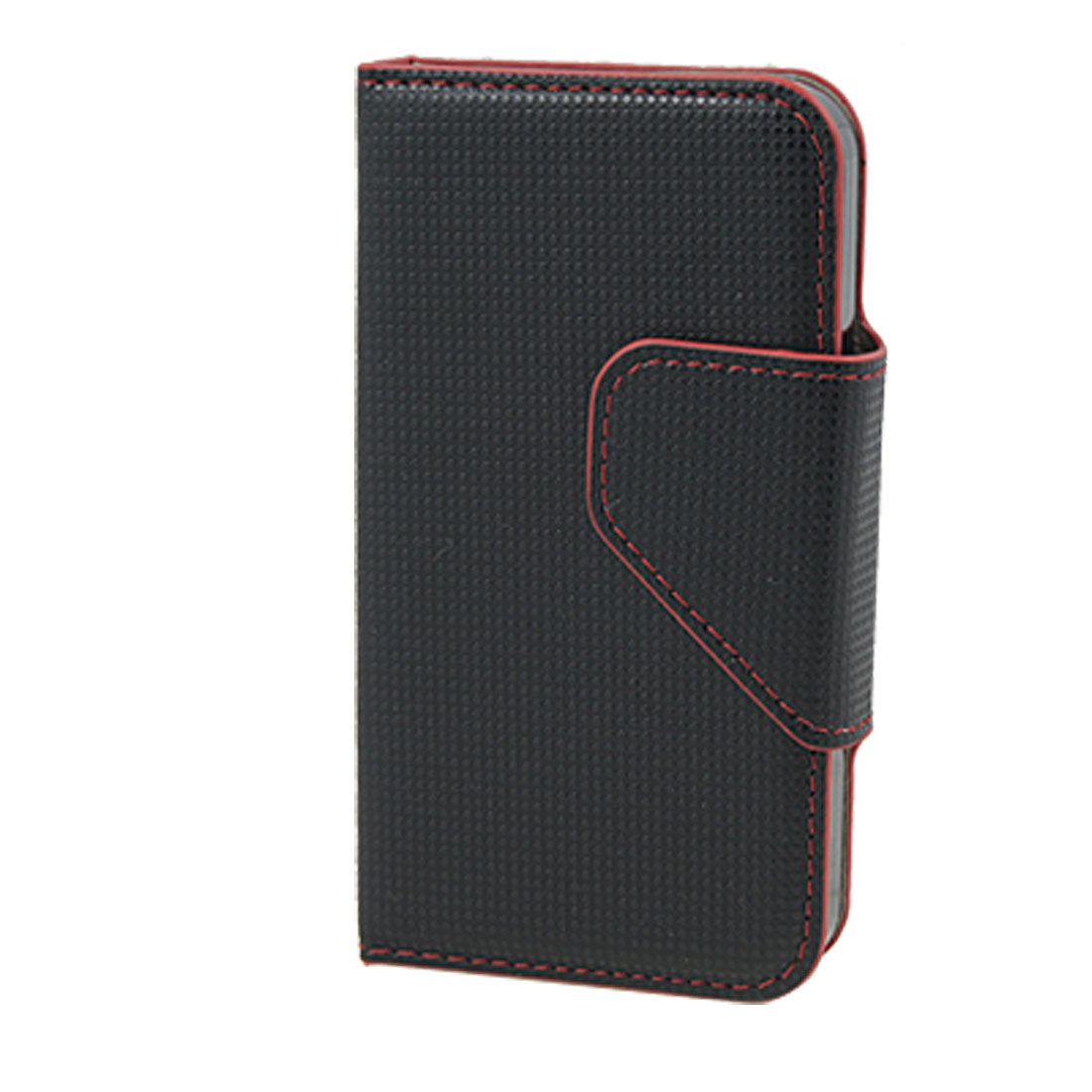 Magnetic Flap Vertical Faux Leather Black Red Pouch for iPhone 4 4G