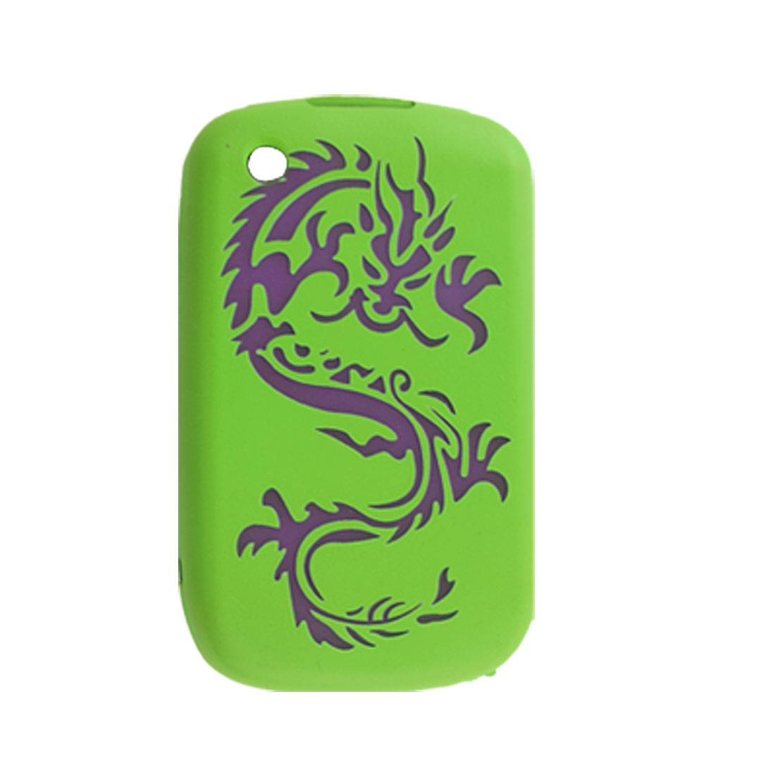 Purple Dragon Print Green Silicone Skin Case for Blackberry 9630
