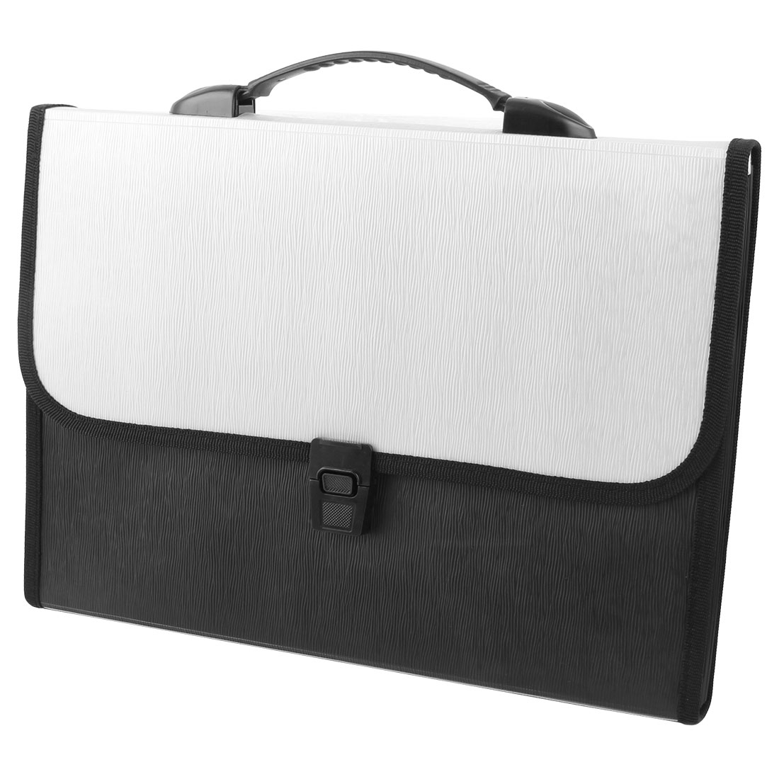 Silver Tone Black Briefcase 13 Slots Document Holder