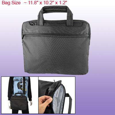"""Dark Gray Hook and Loop Fastener Closure 12"""" Briefcase Bag w Shoulder Belt"""
