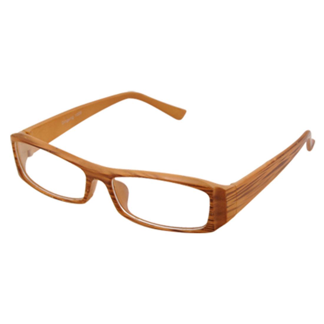 Wood Grain Design Plastic Full Rim Clear Lens Plano Glasses Spectacles