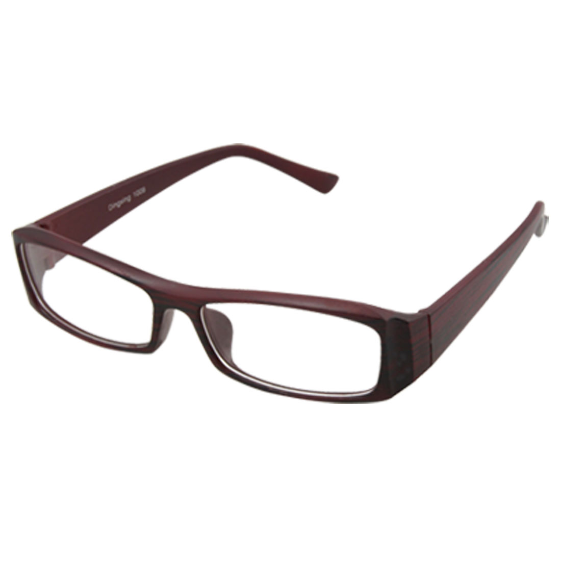 Unisex Brown Wood Grain Style Plastic Frame Clear Lens Glasses