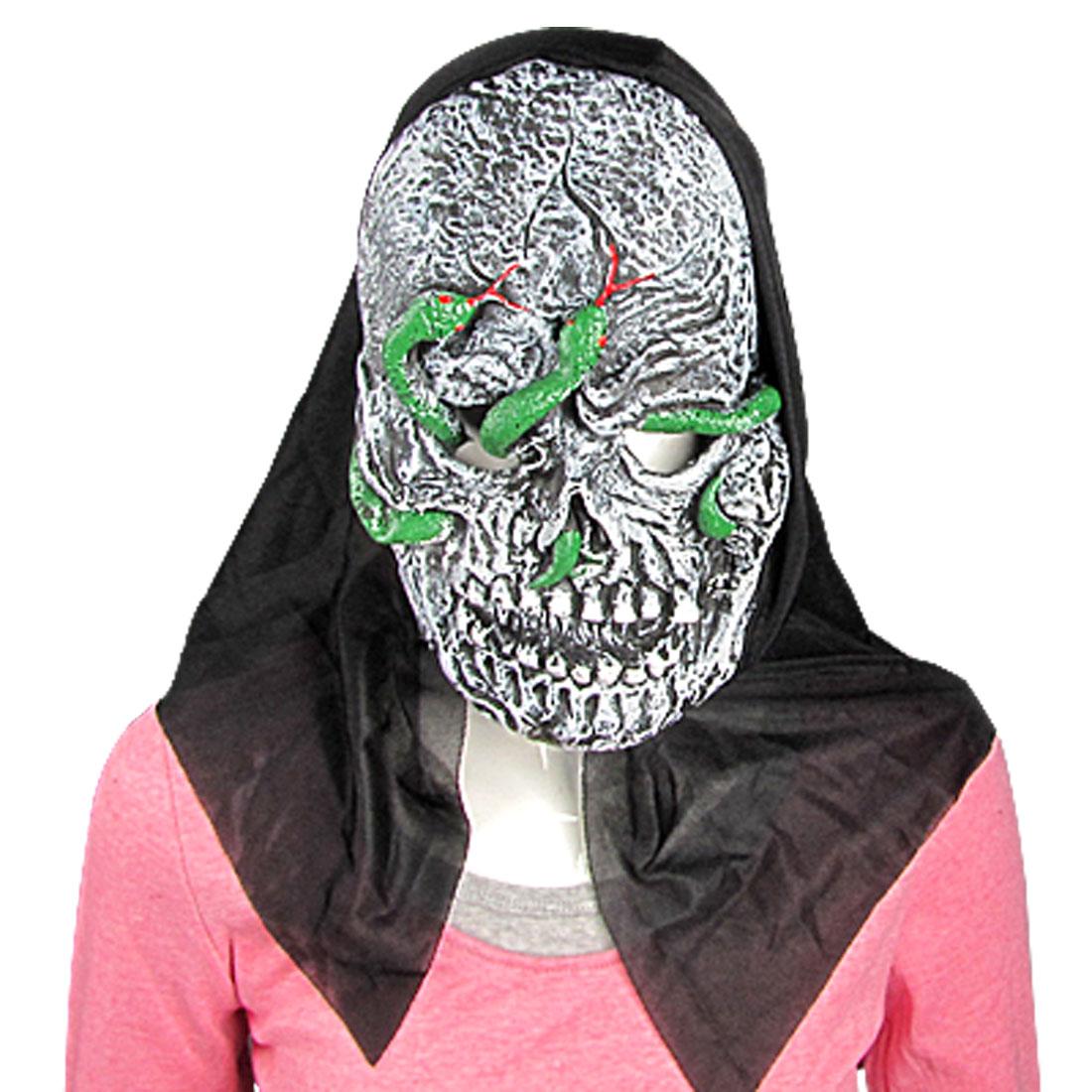 Green Snake on Face Rubber Horrible Halloween Mask
