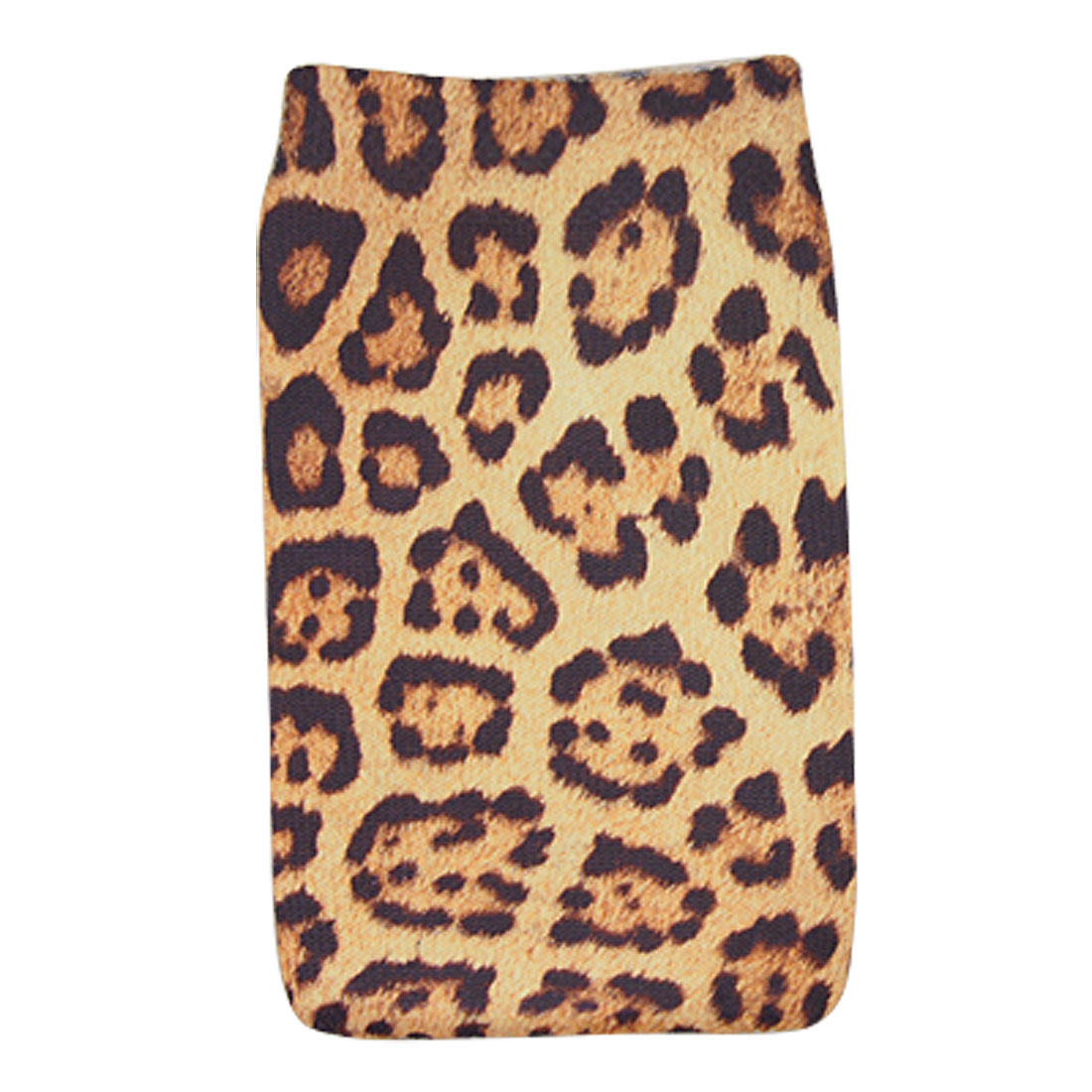 Yellow Black Leopard Pattern Elastic Sock Pouch for Mobile Phone