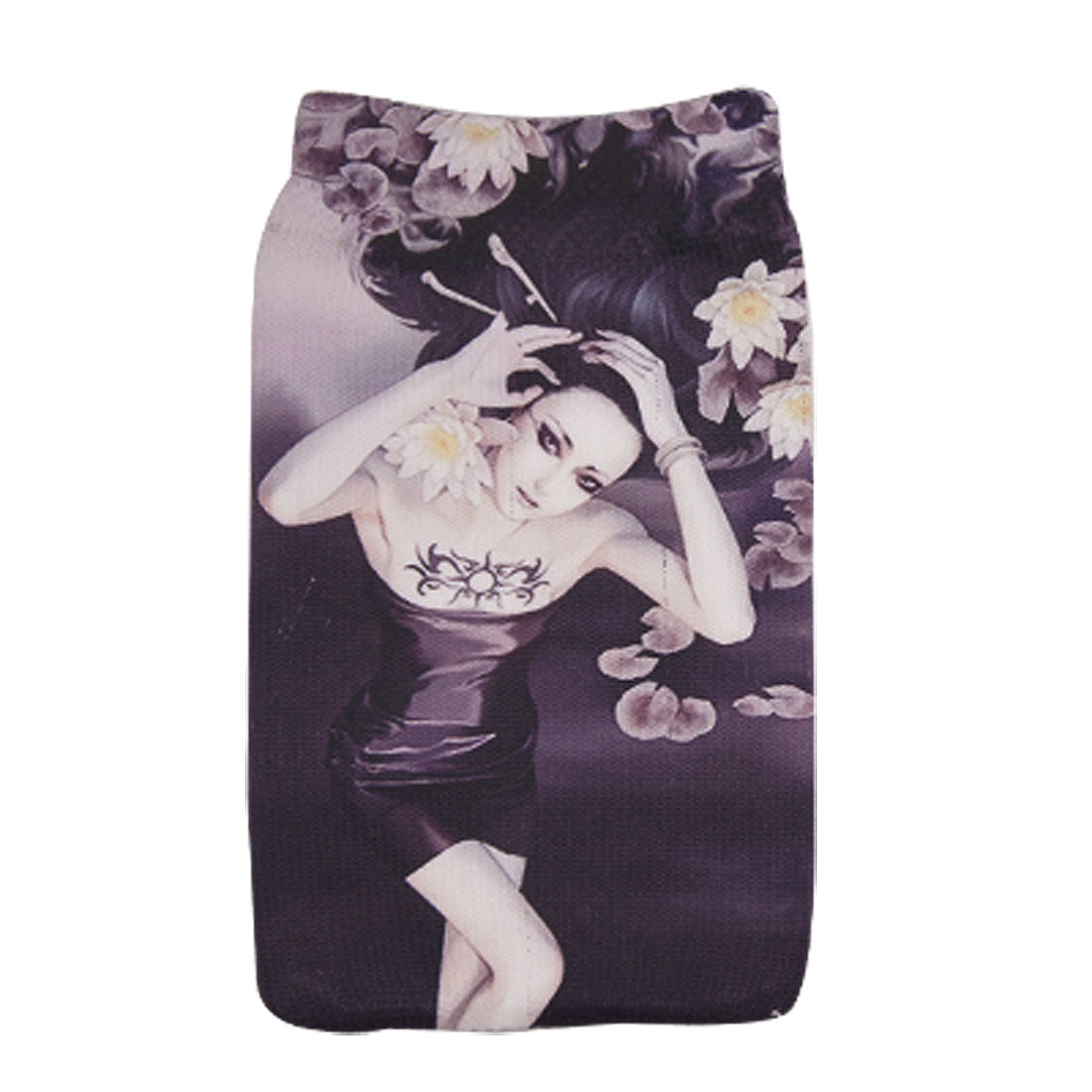 Flowers Lady Pattern Stretchy Sock Pouch for Mobile Phone