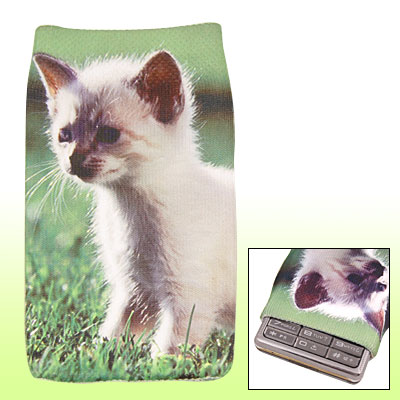 Cat Printed Stretchy Fabric Sock Bag for Mobile Phone