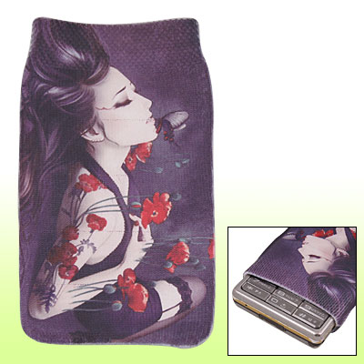 Eyes Closed Lady Elastic Fabric Sock Bag for Mobile Phone