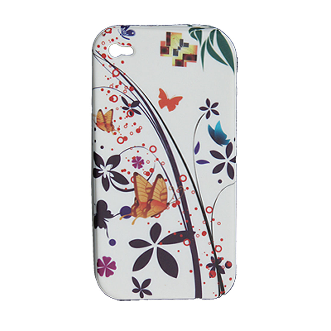 Colorful Soft Plastic Butterfly Back Case for iPhone 4 4G