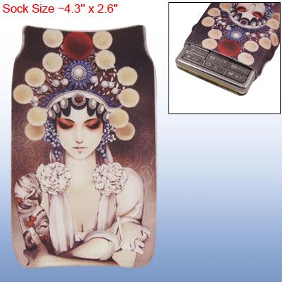 Peking Opera Lady Design Elastic Sock Bag for Mobile Phone