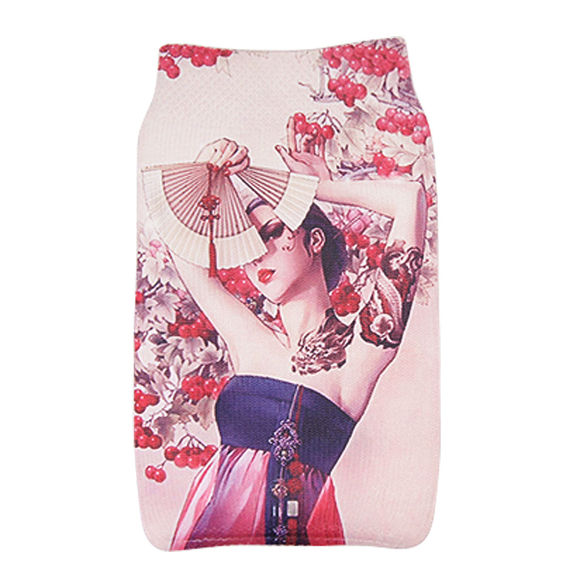 Lady w Fan Pattern Stretchy Fabric Sock Cover for Mobile Phone