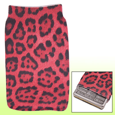 Red Black Leopard Pattern Fabric Sock Pouch for Mobile Phone