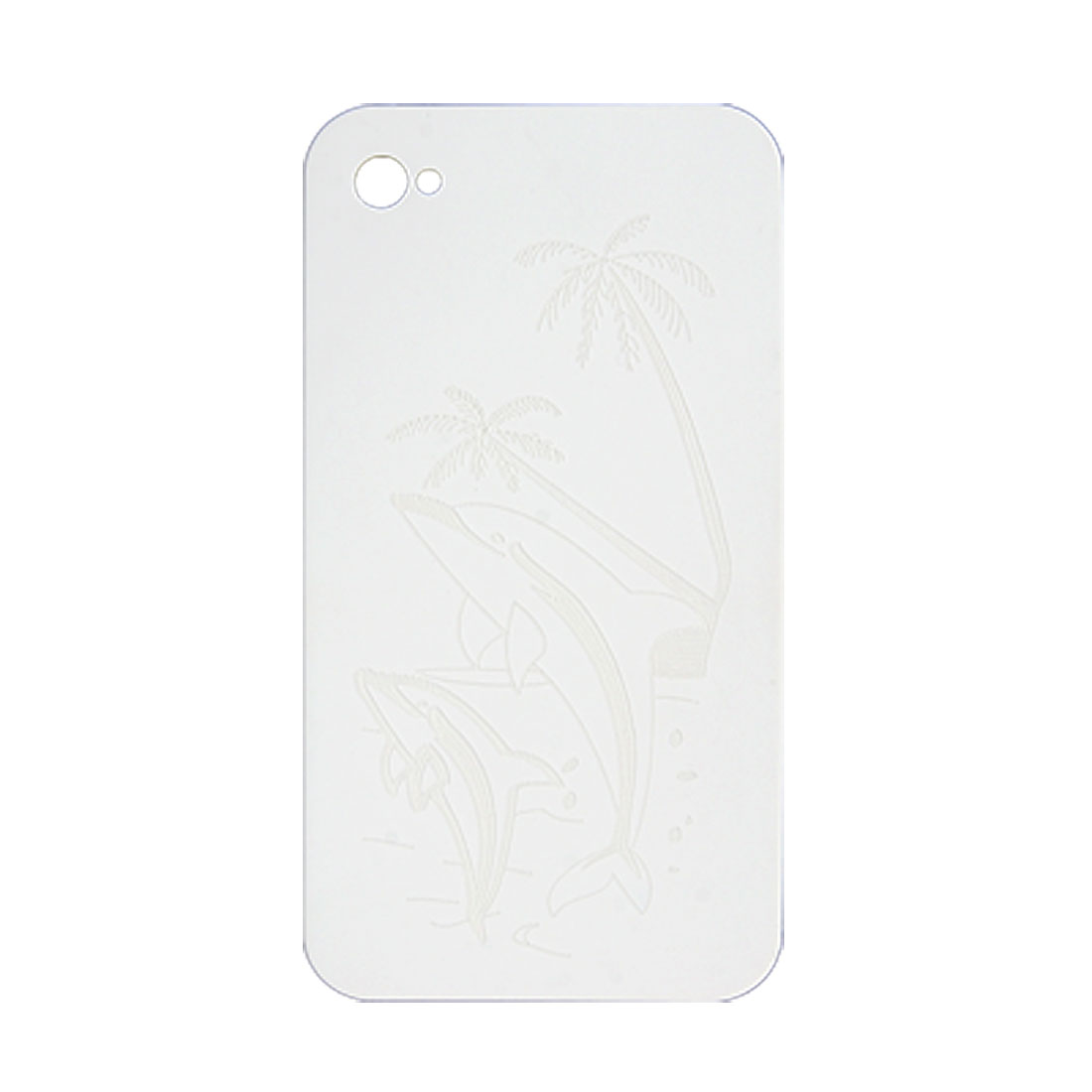 White Coco Dolphin Printed Plastic Back Shell for iPhone 4 4G