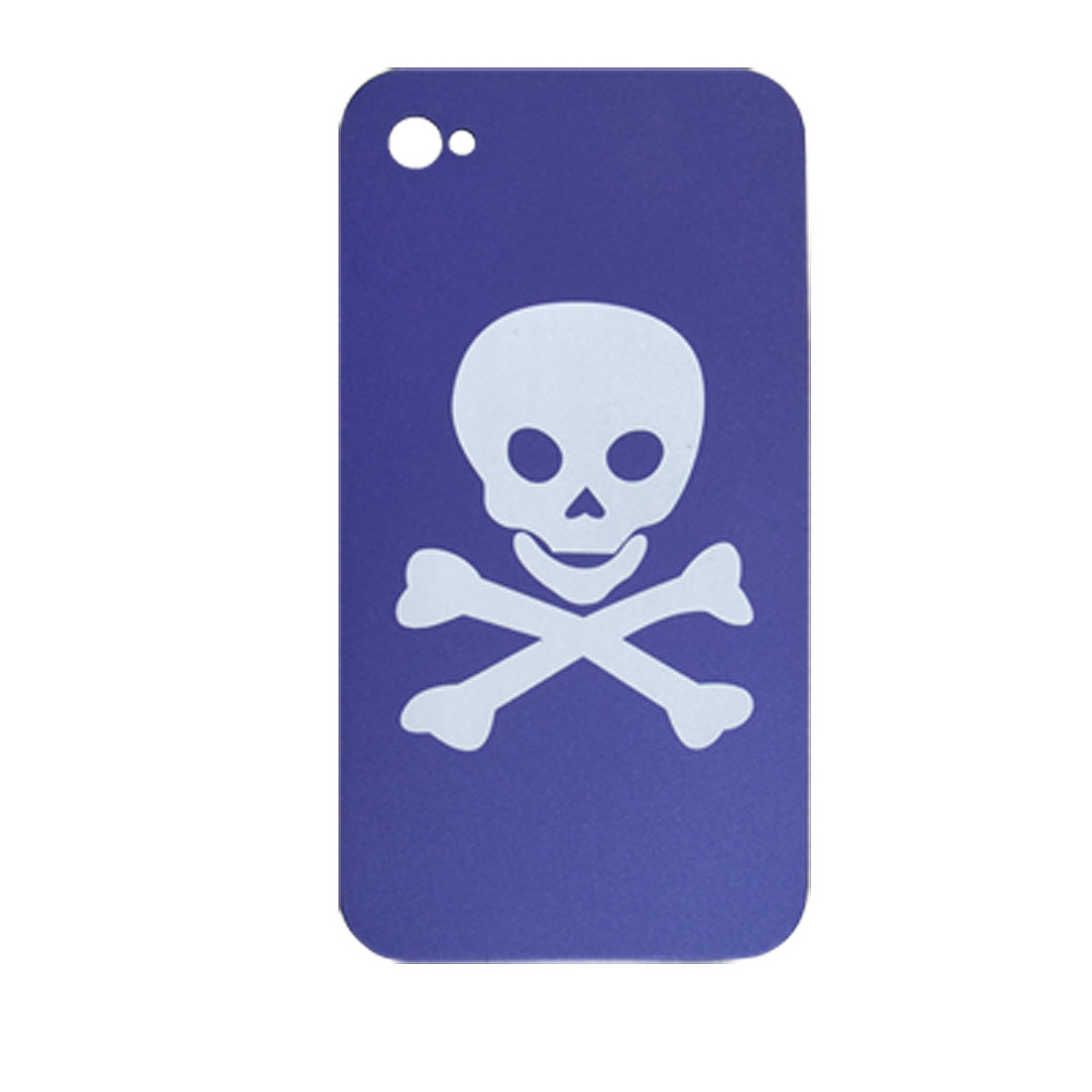 Skull Pattern Blue Rubberriazed Hard Back Case for iPhone 4 4G