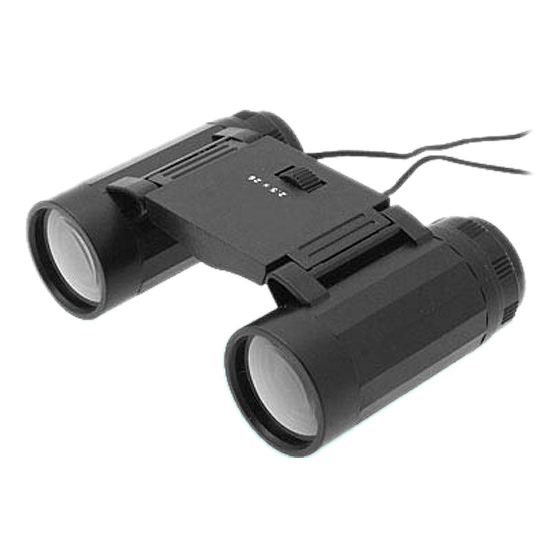 Compact Black Folding Binoculars 2.5 x 24 Telescope w Neck Strap for Children