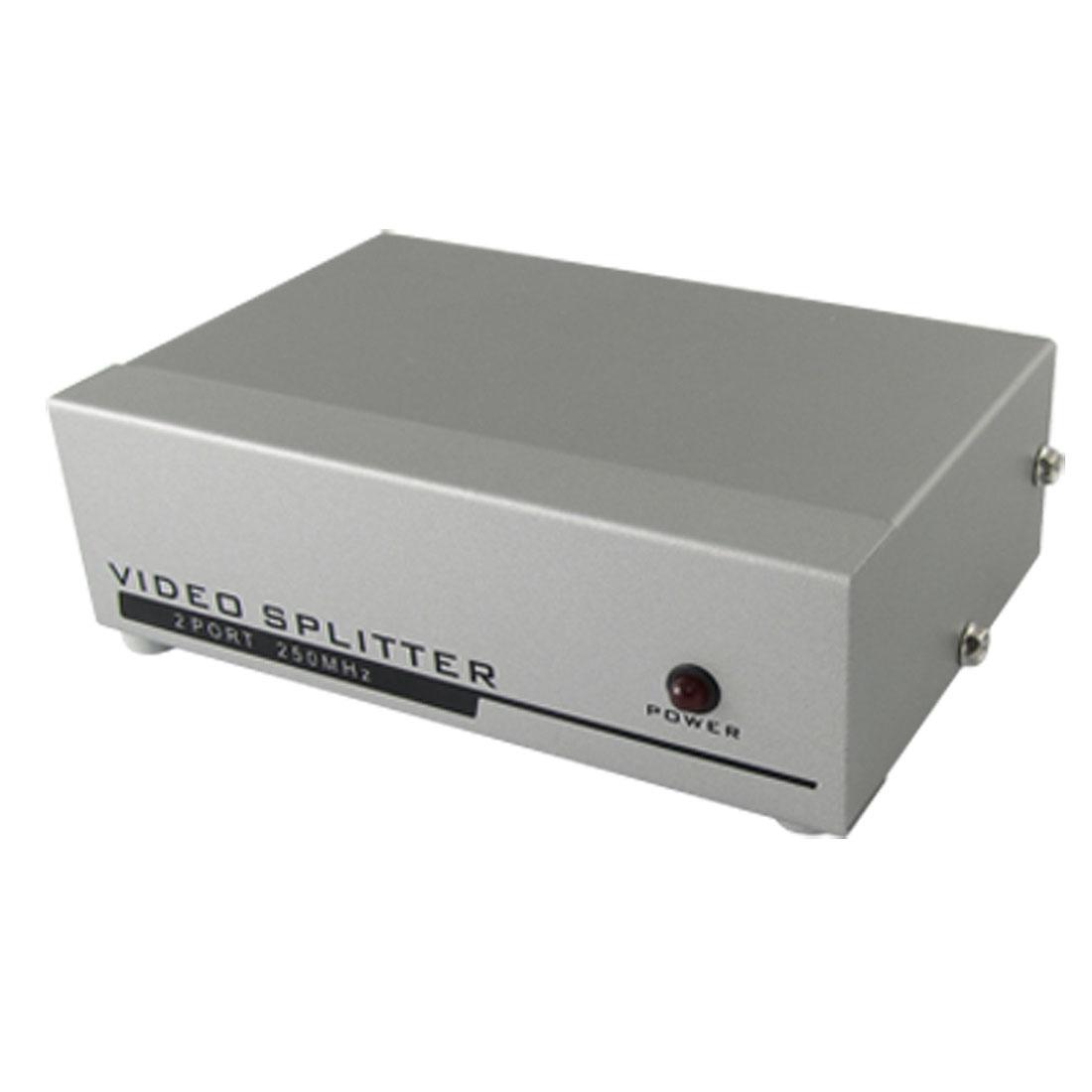 EU Plug 9VDC 1 PC to 2 Port VGA SVGA Monitor Video Splitter 250MHz