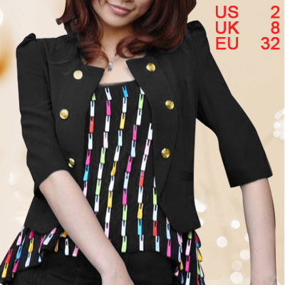 Black Padded Shoulders Puff Elbow Sleeve Ladies Casual Blazer XS
