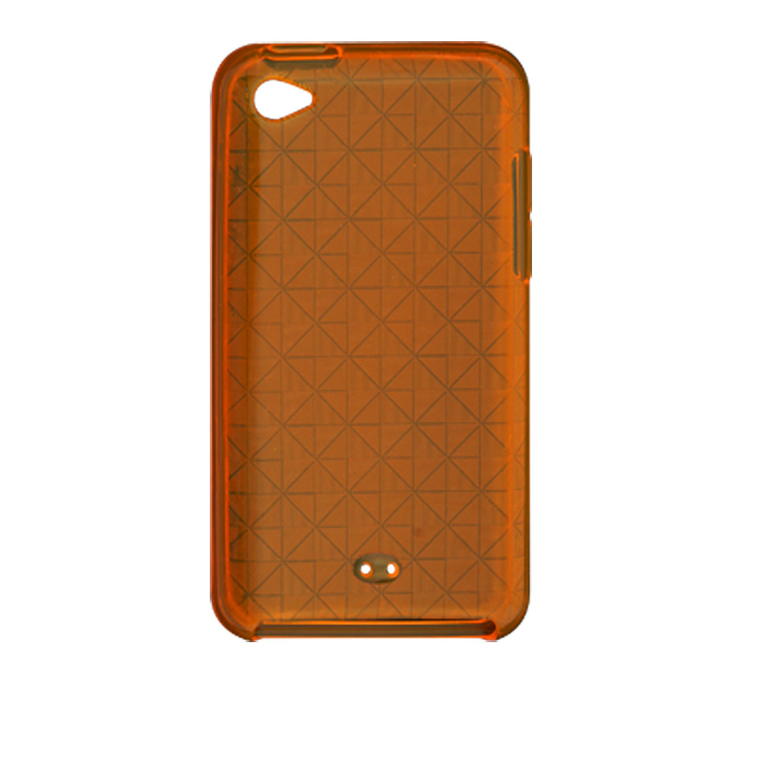 Clear Orange Soft Plastic Argyle Back Case for iPod Touch 4G