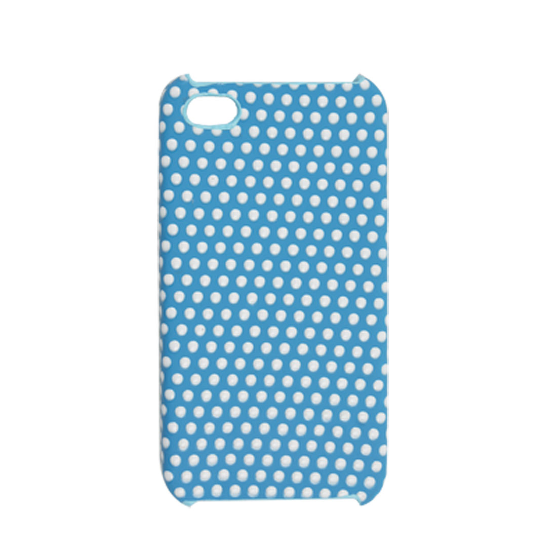 Nonslip White Dots Plastic Back Blue Case for iPhone 4 4G