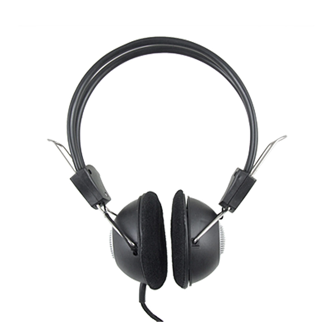 3.5mm Black Silver Tone Adjustable Computer Headphone w Microphone