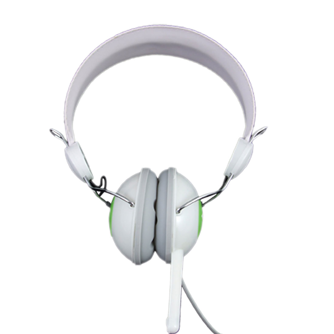 3.5mm White Green Adjustable Computer Headphone w Microphone