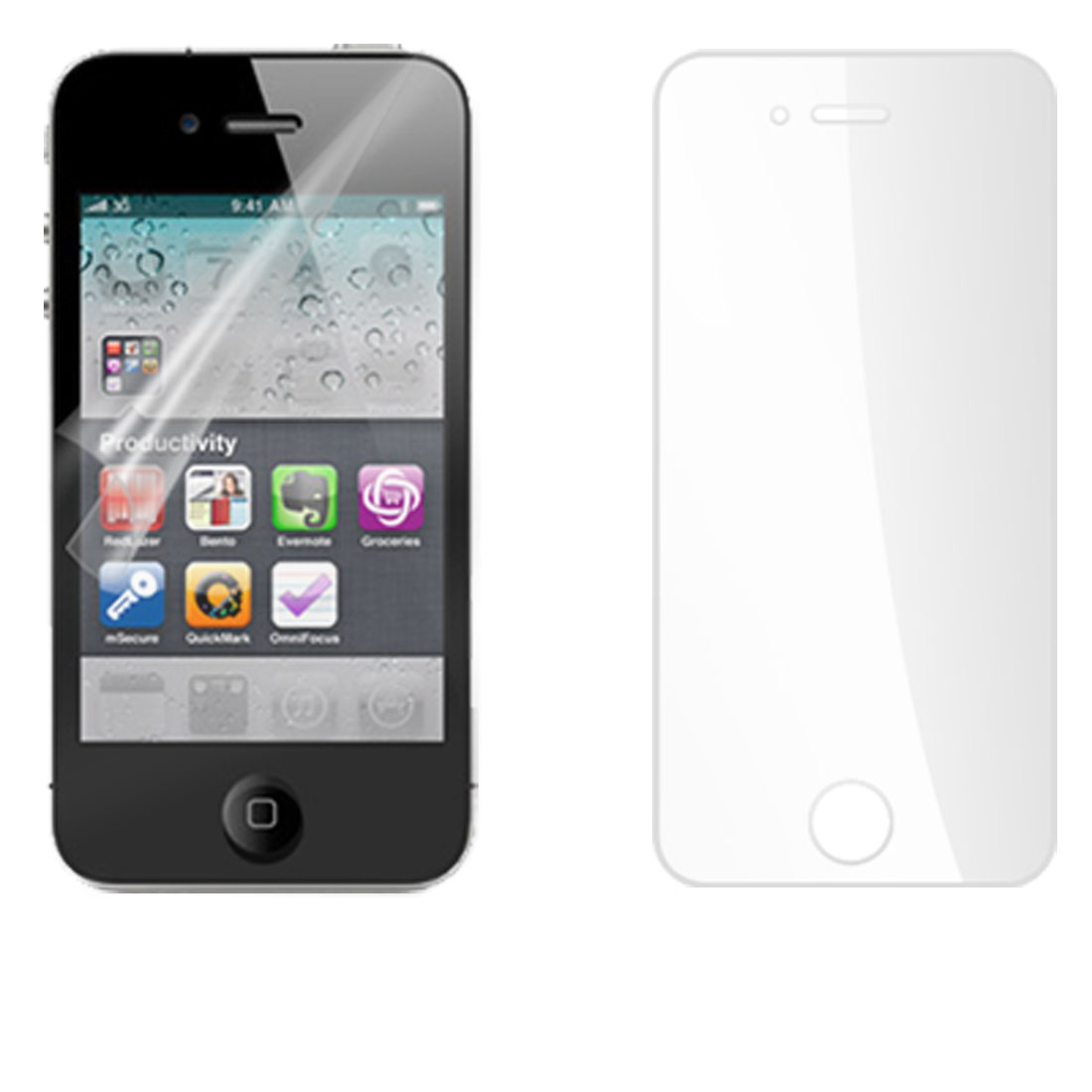 Clear Plastic Film LCD Screen Protector for iPhone 4G