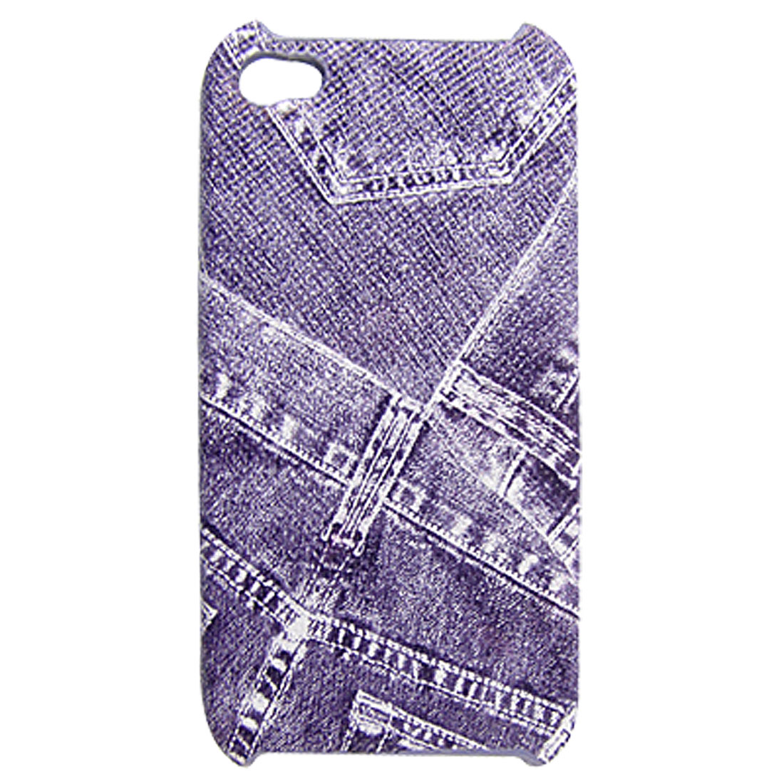 Faux Leather Plastic Purple Back Cover for iPhone 4 4G