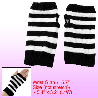 Black White Striped Elastic Gloves Winter Fingerless Mittens for Children