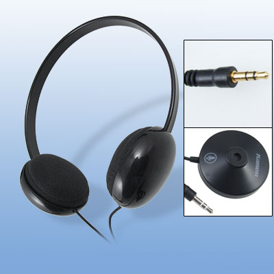 3.5mm Black Plastic Headband Earphone Headphone With Microphone