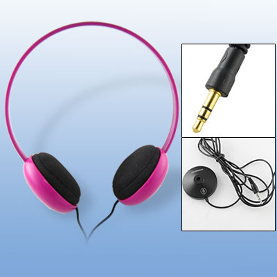 3.5mm Fuchsia Headset Headphone with Independent Microphone Equipment