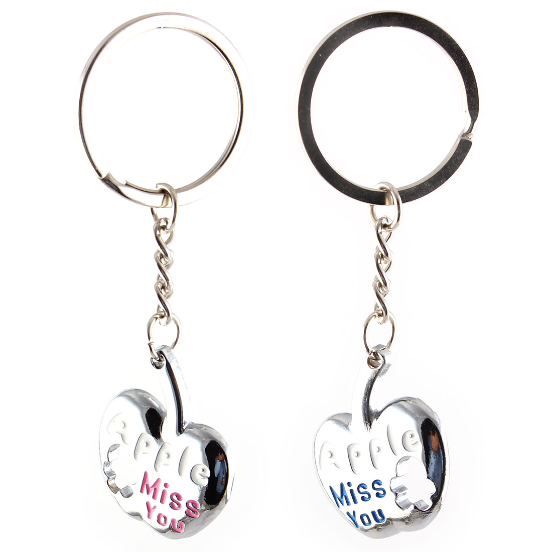 Miss You Print Apple Shaped Silver Tone Key Chain 2Pcs