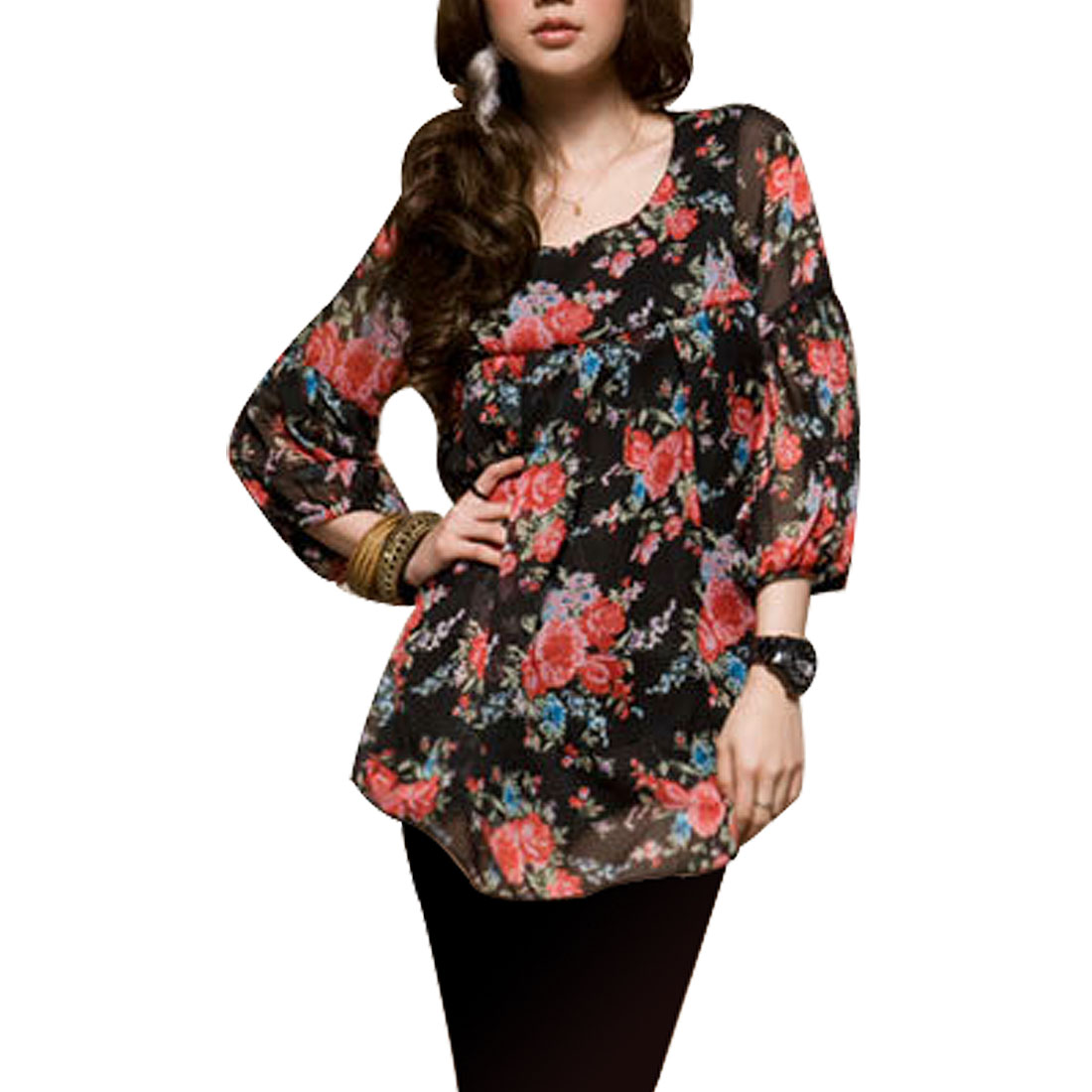 Lady Round Neck Long Sleeves Flower Lantern Sleeves Shirt Top XS