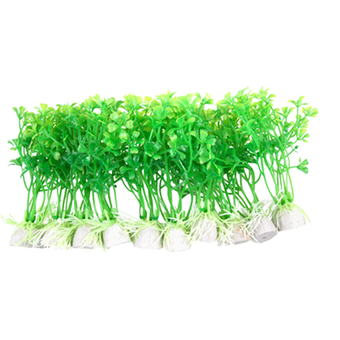 Navy Green Vivid Ceramic Base Plastic Plants 10 PCS Fish Tank