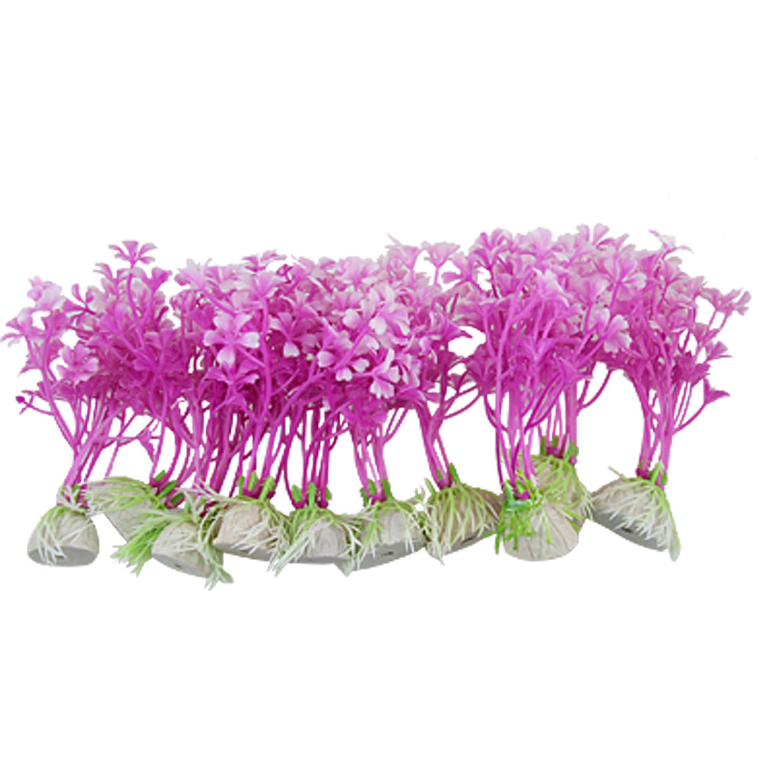 Purple White Ceramic Base Plastic Grass Plants 10 PCS