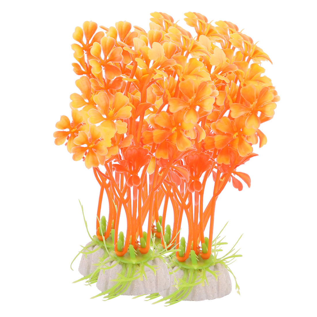 Orange Oval Base Artificial 10 PCS Plastic Plants for Aquarium